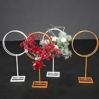 wrought iron round frame t stage wedding road lead metal bracket flower arrangement decoration wedding party supplies