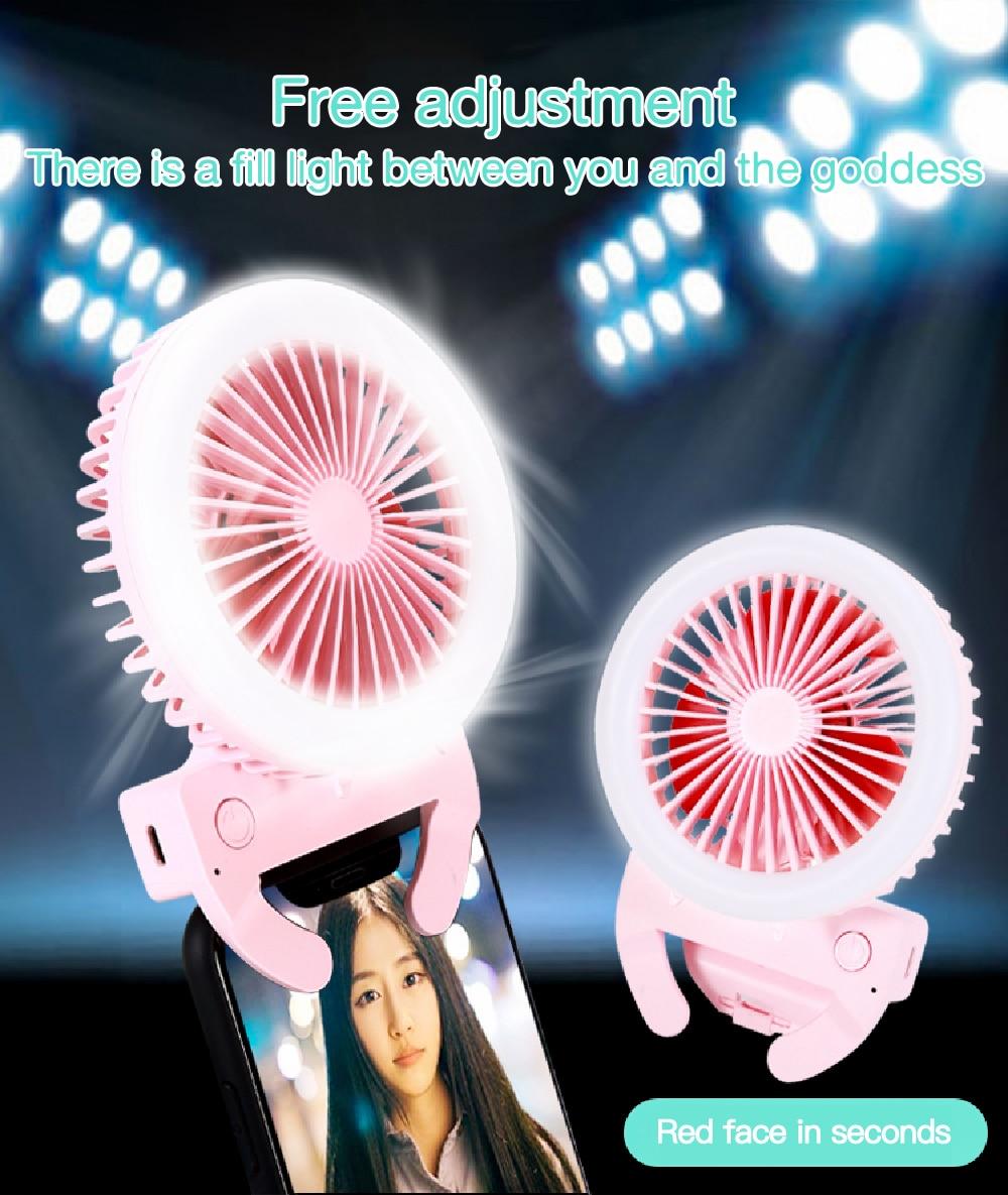 Selfie Led Ring Licht Mit Fan 3 Ebene Licht Tragbare Mobile Selfie Lampe Clip Telefon Rechargeble 800mAh Fotografie