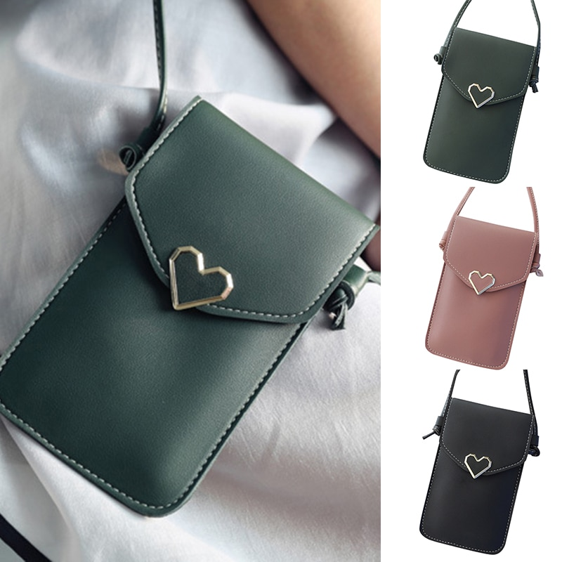 Bolsa de teléfono móvil decoración en forma de corazón transparente pantalla táctil bolsa monedero regalo para el Día DE LA Madre tienda NYZ