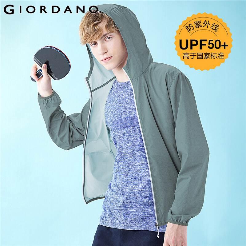 Giordano homens jaquetas leve anti ul upf 50 + travolet com capuz windbreakers interior bolso com faixa masculino l01070091