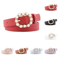 hot sale fashion pearl decorative belt ladies belt round pin buckle pearl belts womens casual solid pu leather thin belt new