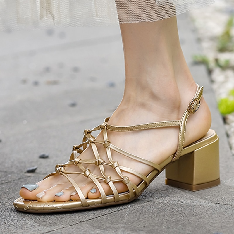 Genuine Leather Fashion Sandals Women's New Summer Shoes Gold Strap Woven Mesh Medium and Low Heel Sandals Open Shoes Women