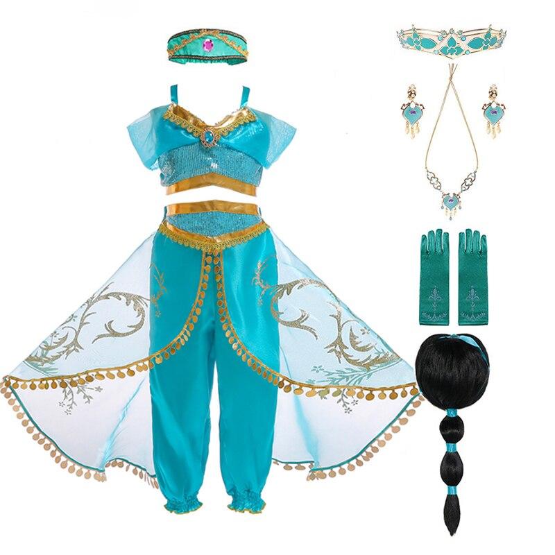Детский костюм принцессы жасмина Аладдина и волшебной лампы; Комплект из топа и штанов с повязкой на голову; Платье для дня рождения и костю...