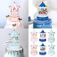 cartoon animal rotating wooden horse creative eyes candy carousel music box valentines day party children cake decoration