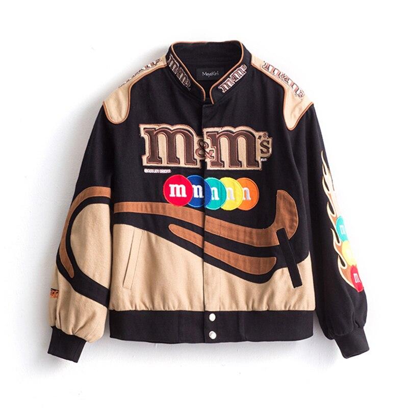 Embroidery Harajuku Patch Plus Size Coat 2021 Winter Autumn Women's Jackets Hip Hop Autumn Long Sleeve Female Jacket