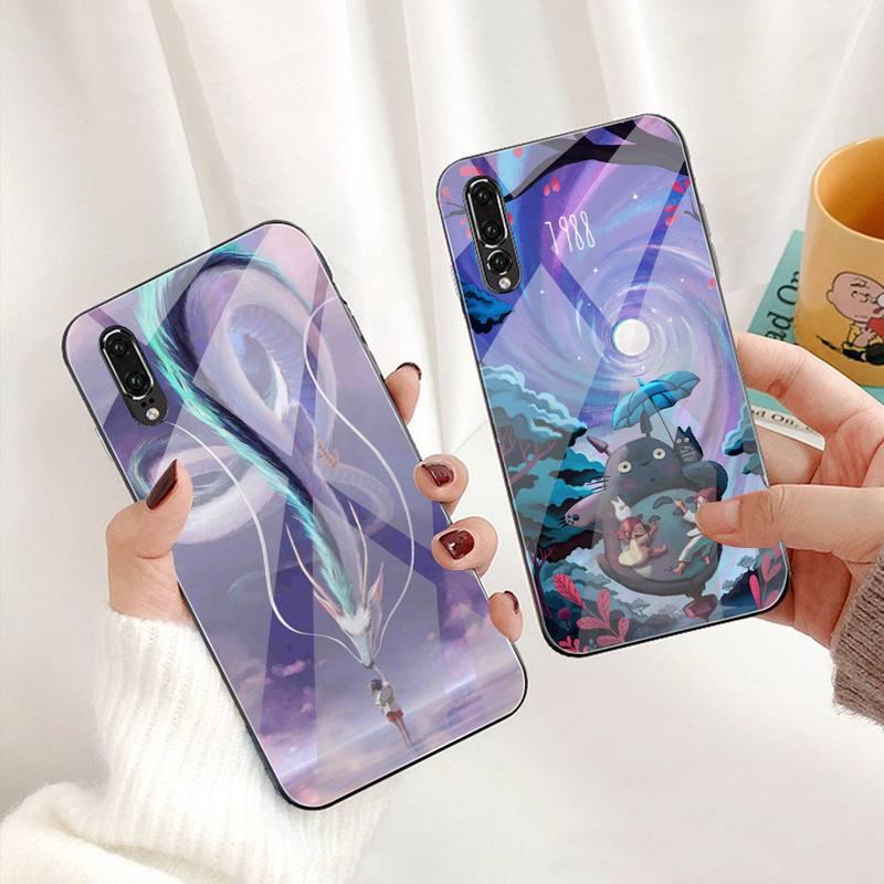 Totoro en espíritu Ghibli Miyazaki teléfono caso de vidrio templado para Huawei P30 P20 P10 lite honor 7A 8X 9 10 mate 20 Pro
