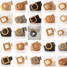 Fashion Round Square Wooden Buckle Dress Belt For Women Casual Braided Wide Strap Woven Elastic PP Straw Belts Decoration Gift