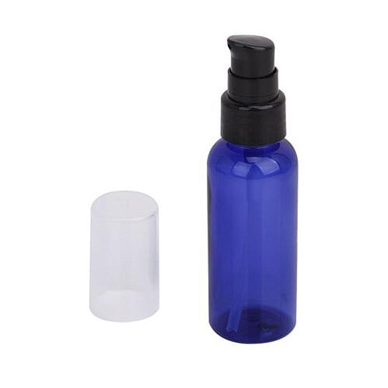 Botella de rociador de 50ML PET, azul, frascos rellenables con sistema de bombeo para crema, pulverizador de aceite esencial líquido, dispensador de Perfume de viaje, atomizador de niebla fina