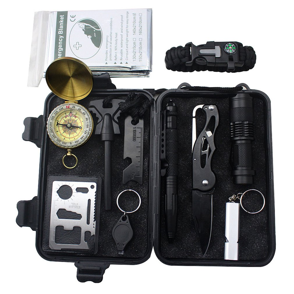 Emergency Survival Kit Survival Gear First Aid Kit SOS Tactical Tool Flashlight with Molle Bag Suita
