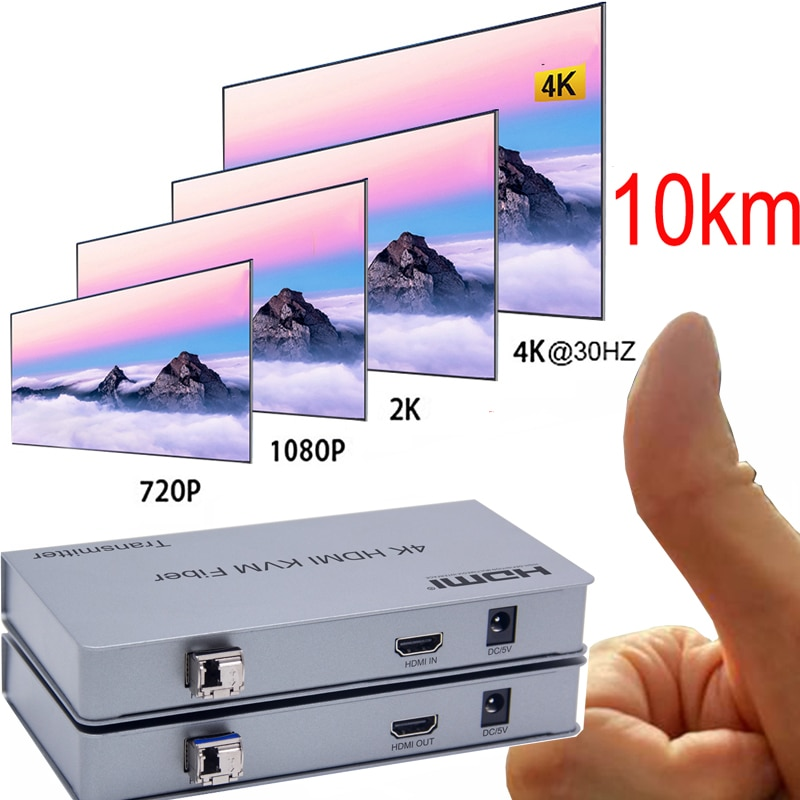 10KM 4K HDMI KVM Extender USB Mouse Keyboard Extension By Single Fiber Cable Cord Transmission DVD Video Player PC to TV HDTV
