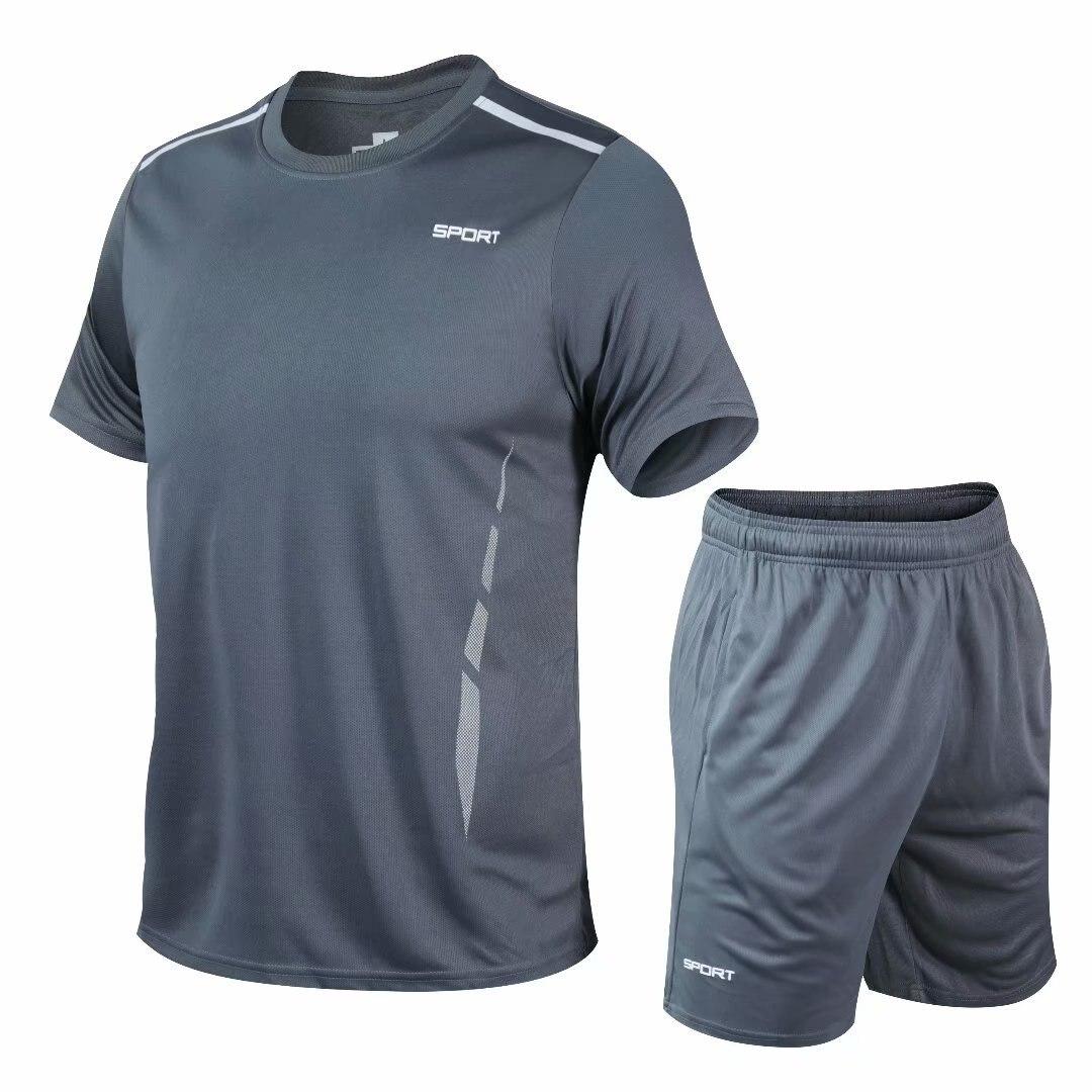Conjuntos deportivos para correr para hombre, ropa deportiva de manga corta para gimnasio, ropa de 2 piezas para baloncesto, tenis, fútbol, trajes deportivos para Entrenamiento de fútbol