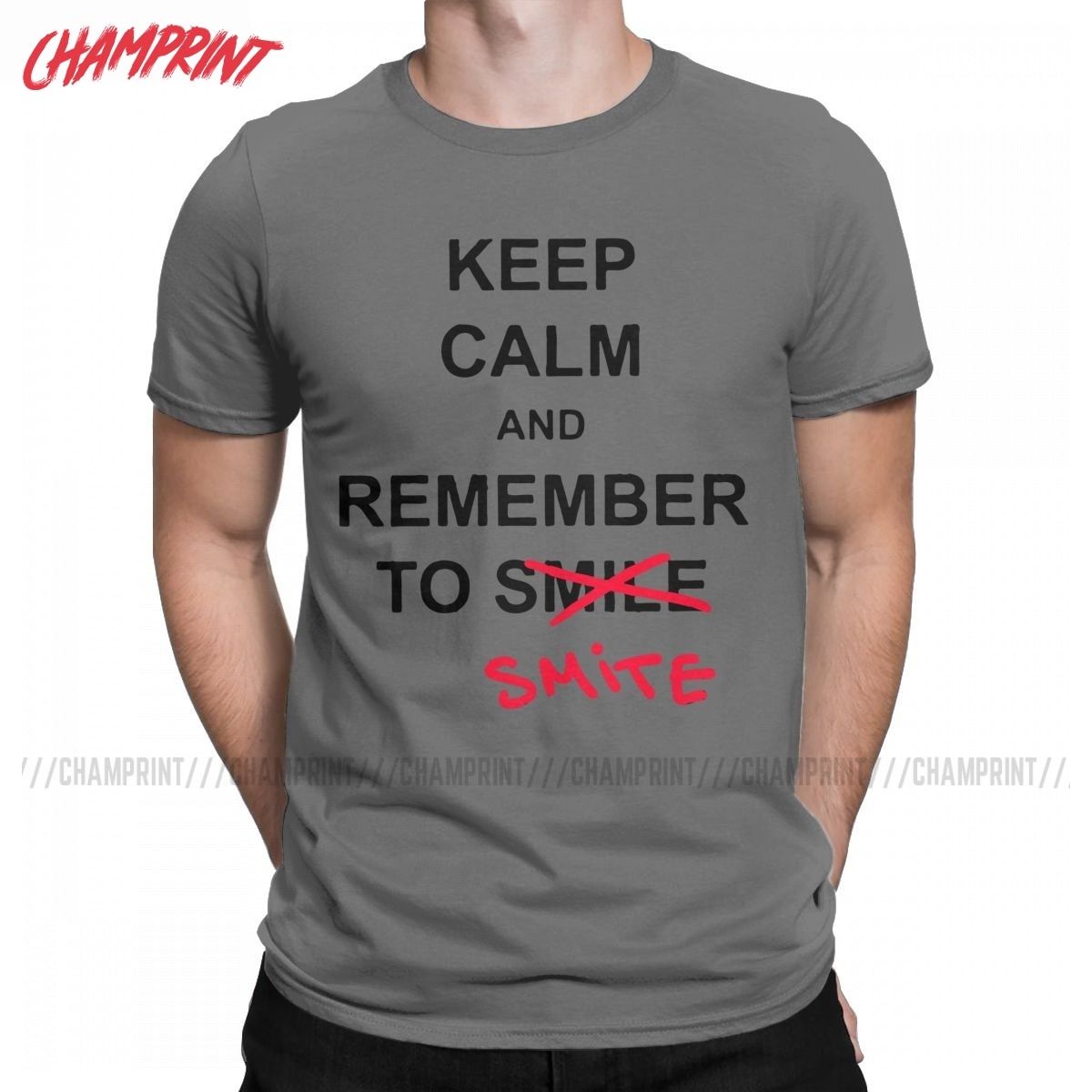 Vintage Keep Calm And Remember To Smile T-Shirt for Men O Neck 100% Cotton T Shirts Short Sleeve Tees Gift Idea Tops