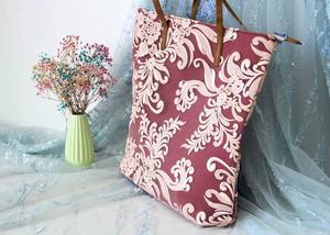MANHAN Женская Высококачественная холщовая большая сумка с вышивкой, дорожная сумка-тоут с цветком Mauve