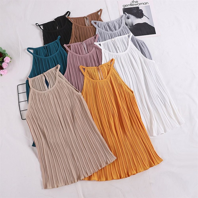 Camisola fruncida sin mangas Color sólido de gasa para mujer jh5