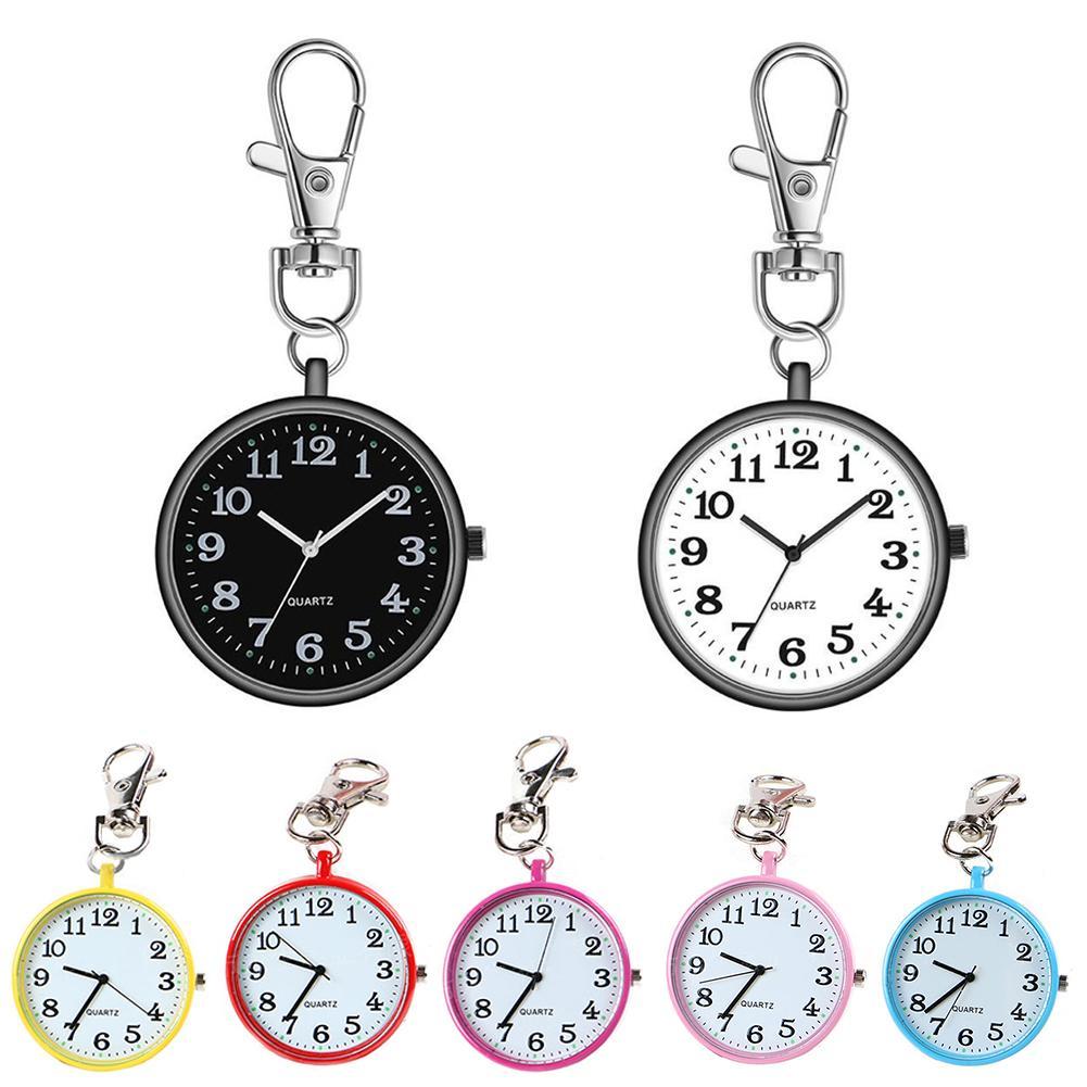 Fashion Pocket Watch Unisex Round Dial Quartz Analog Nurse Medical Keychain Pocket Watch Quartz Cloc