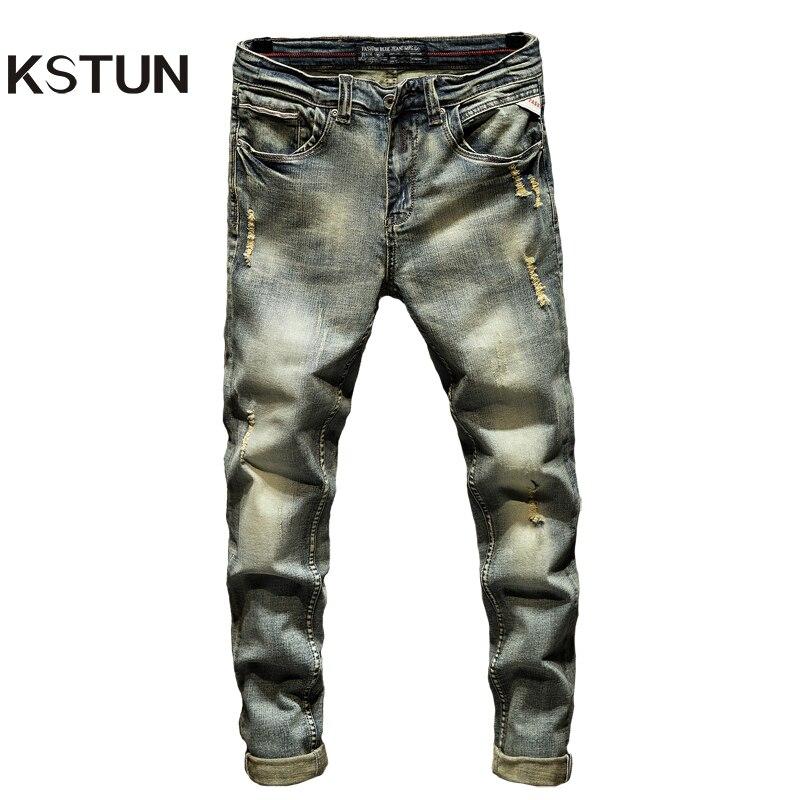 Vaqueros rasgados para hombres Slim Fit Retro Azul Stretch 2020 Hip Hop primavera otoño hombres Jeans marca destruido rasgado Jeans de Denim para hombres