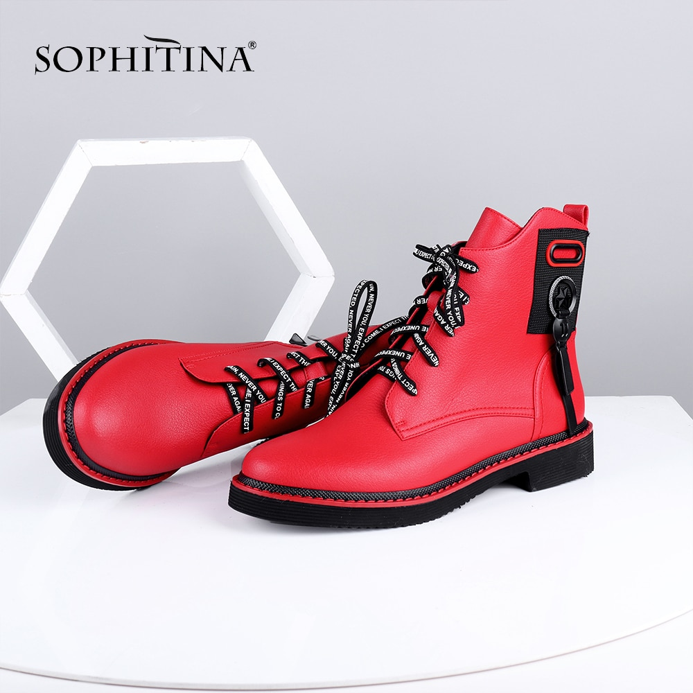 asumer black fashion winter snow boots round toe keep waem knee high boots zip shearling comfortable pu cow leather boots women SOPHITINA Ankle Boots Red Black Cow Leather Comfortable Casual Shoes Woman High Quality Zipper Round Toe Flat Boots C642
