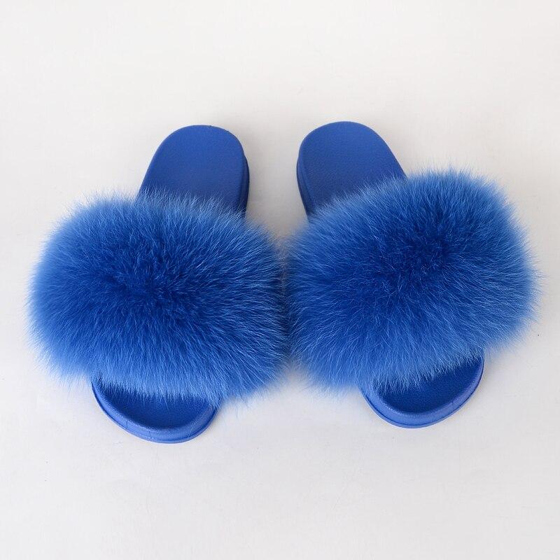 Diapositives de fourrure pour les femmes dété pantoufles floues maison moelleux sandales dames en peluche tongs femmes doux plat femme chaussures de luxe 2020