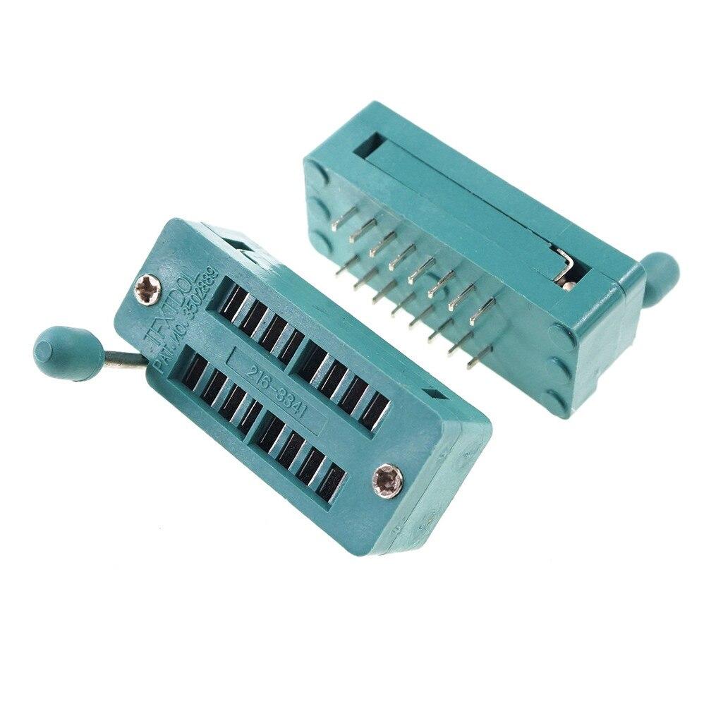 """10 pces teste ic dip zif zip soquete 16 pinos passo 2.54mm imprensa-ajuste dupla linha espaçamento 7.62mm 0.3 """"2x8 16 posição grade"""