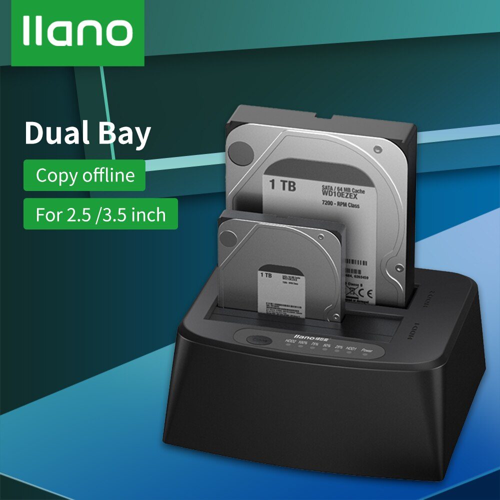 LLANO HDD Case/Docking Station SATA to USB 3.0 Adapter for 2.5/3.5 HDD SSD Disk Case HD Box Dock External Hard Drive Enclosure