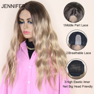 Synthetic Wigs Middle Part Wigs Long Wave  Brown Gloden Honey Wavy Wig with Highlights Cosplay Lace Women Heat Resistant brown
