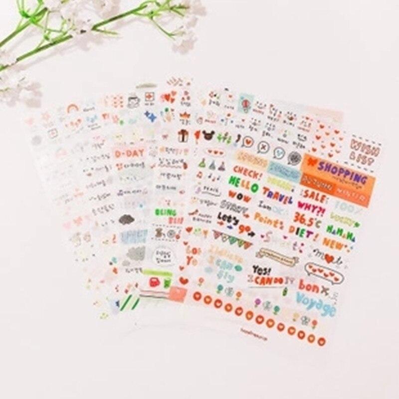 6 листов наклейки милые корейские ПВХ слова Дневник для скрапбукинга Diy Дневник календарь блокнот этикетка Канцелярский набор