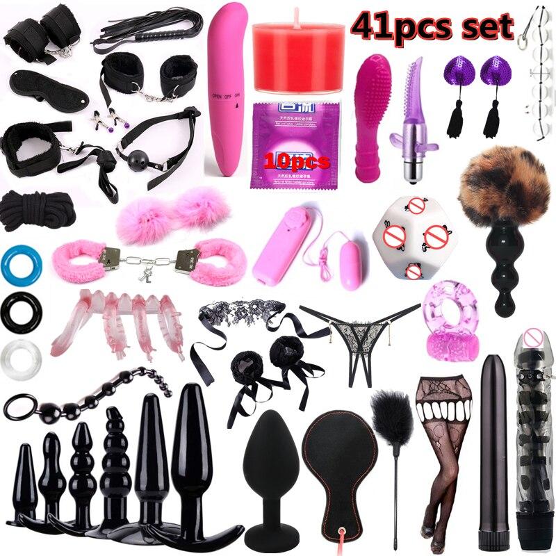 41pcs Adults Sex toy shop Set for female couples Women Men Mini Vibrator dildo Anal Plug Kits Adult