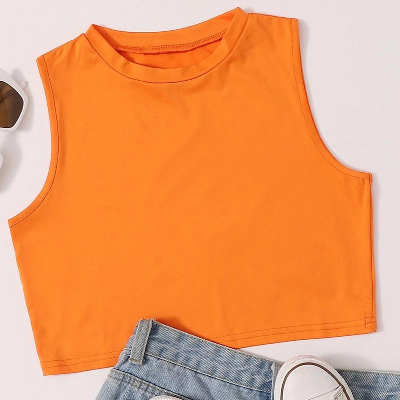 Tops de moda para mujer, camisola lisa sin mangas, naranja neón, Tops...