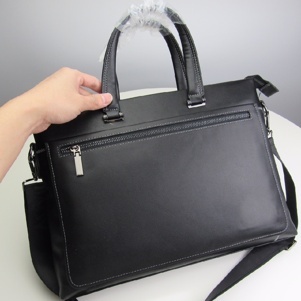 Men's leather briefcase business office briefcase large capacity computer bag casual all-match handbag