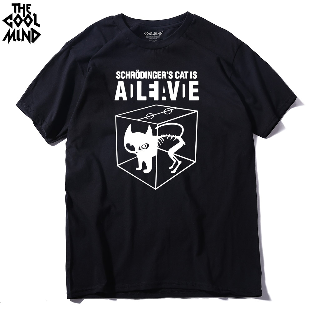 COOLMIND CA0212A 100% cotton Schrodinger's Cat print short sleeve men T shirt casual The Big Bang Theory mens Tshirt summer Tees