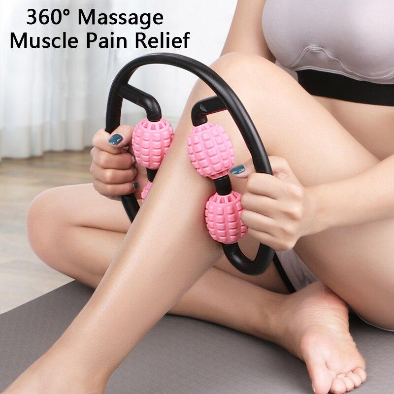 360 ° masajeador de pierna muscular rodillo para relajación anillo abrazadera de la pierna de palo de masaje Yoga la forma del cuerpo 4 ruedas Aparato de Fitness para deportes