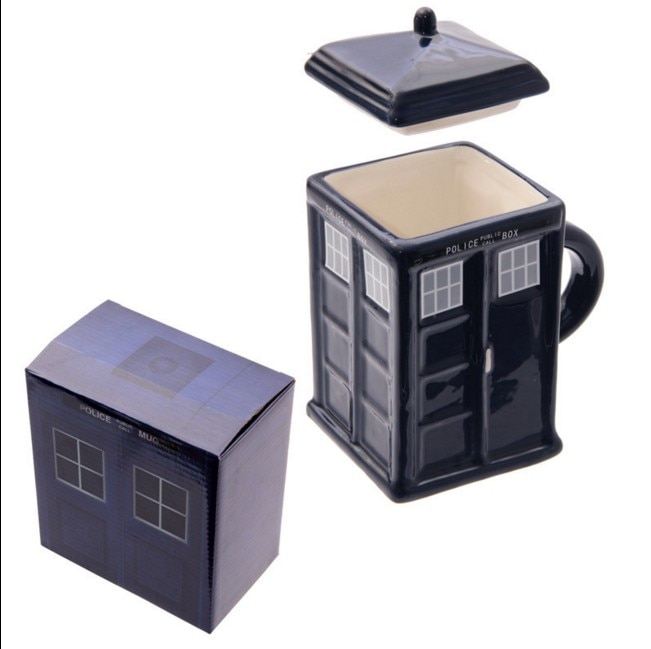 Frete grátis médico que tardis criativo polícia caixa caneca engraçado cerâmica café xícara de chá para o presente natal