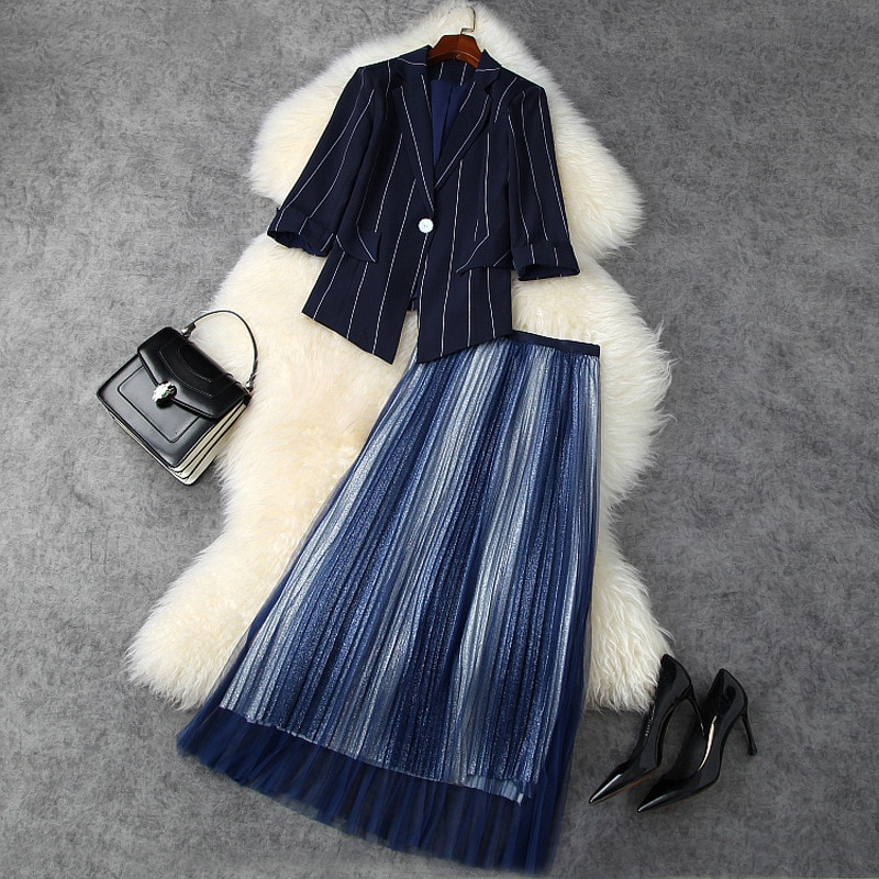Outfits For Women 2021 Spring New Stripes Single Button Irrgular Jacket Top + Pleated Mesh Skirt OL Two Piece Set Female S-XL