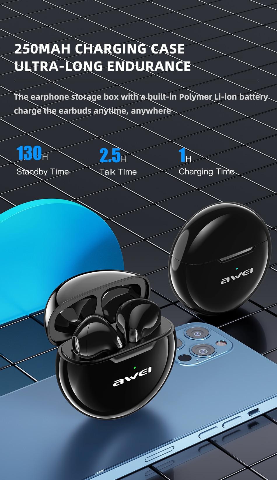 Ασύρματα Ακουστικά Earbuds Bluetooth V5 Awei με Θήκη Φόρτισης 250mAh - Μαύρο