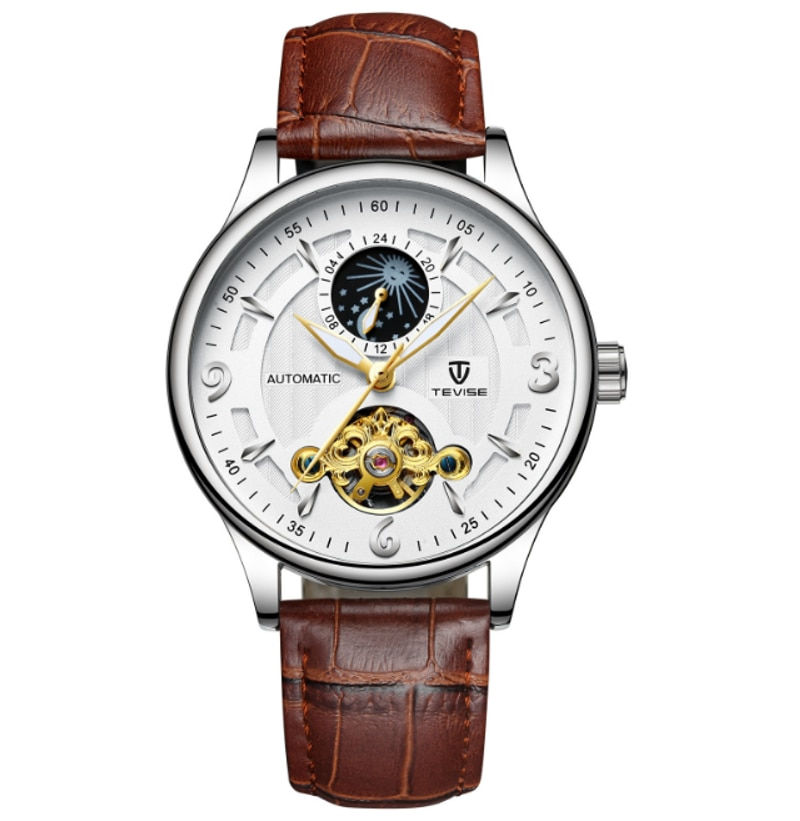 TEVISE Brand Moon Phase  Automatic Mechanical Tourbillon  Mens Watch Transparent Back Business Man W