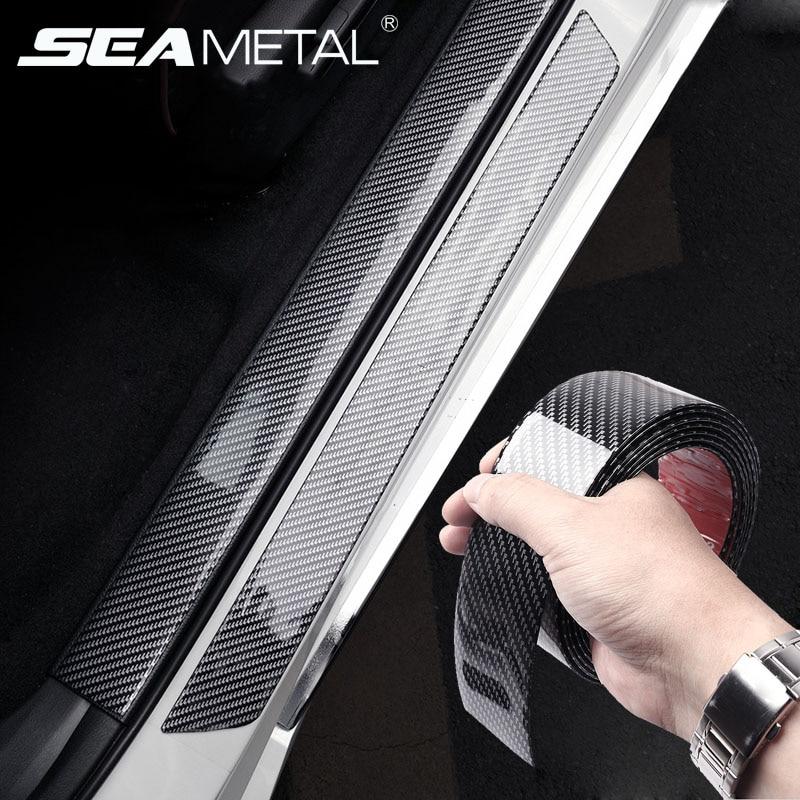 Pegatinas de Estilo de fibra de carbono para coche, tiras protectoras de cuerpo entero para coche, película decorativa Interior de vinilo para exteriores, película para umbral de puerta bañadores de coche