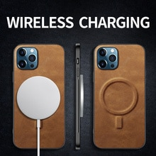 Hyso Funda Luxury Shockproof Soft Support Wireless Charging PU Leather Phone Case For iPhone 12 11 P