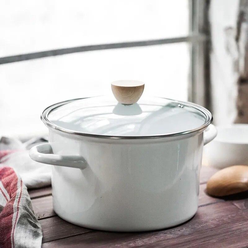 وعاء من المينا الكورية سميكة 24 سنتيمتر المينا إناء للحساء 2L3L4L قدر قدر إناء/ قدر ديكوتينغ وعاء الأواني للطبخ الطبخ مجموعة الأواني