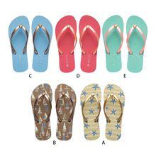 Women Ocean Style Beach Flip-Flops Starfish Sailboat Macaron Color Summer Flat Sandals Non-Slip Casual Slippers Shoes