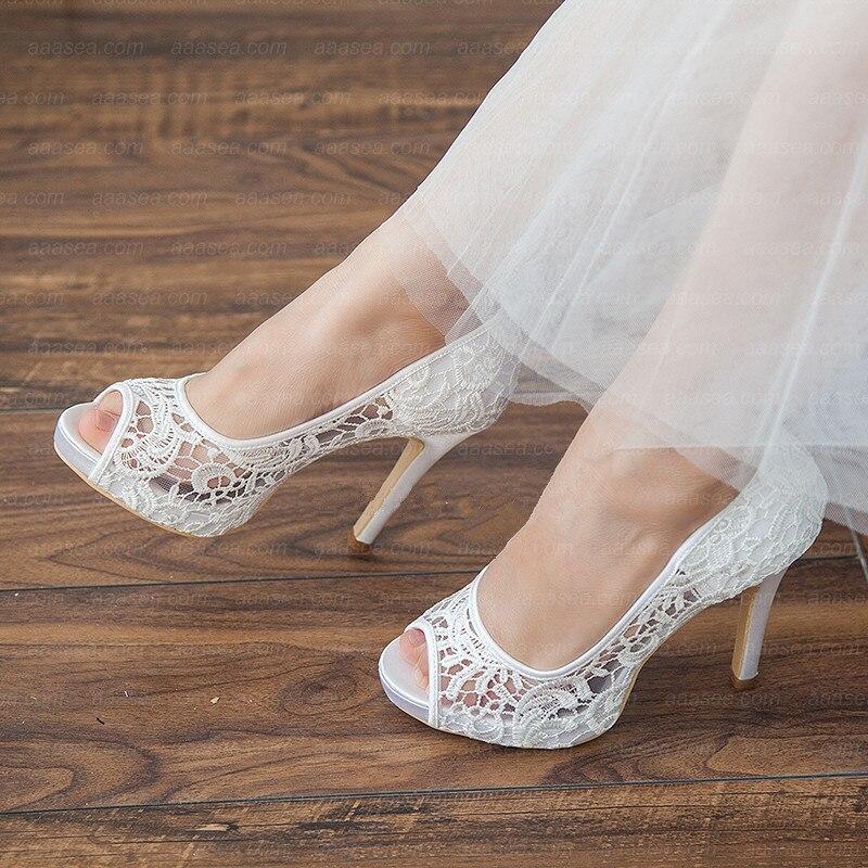 2020 moda feminina branco sapatos de salto alto mulher salto fino plataforma peep-toe oco sandálias de renda sapatos de noiva mais 41