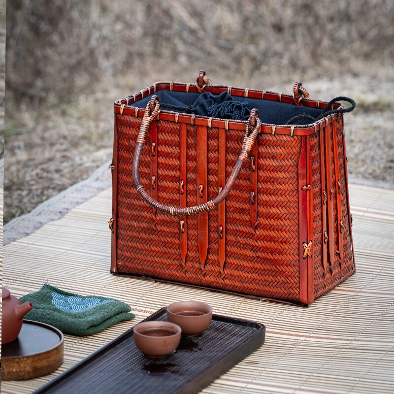 Retro Bamboo Woven Handmade Retro Bag Basket Chinese Style Tea Suit Ceremony Set Fashion Bag Handbag Travel Beach Bags Femininas