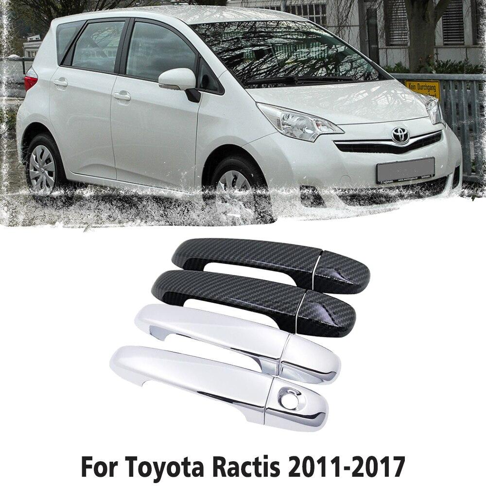 Para toyota ractis verso-s espaço verso subaru trezia 2011 2017 fibra de carbono chrome maçaneta da porta capa acessórios do carro adesivos
