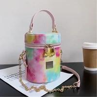 pu leather women luxury designer handbag 2021 shopper purse fashion casual contrast color tie dye chain bucket bag messenger bag