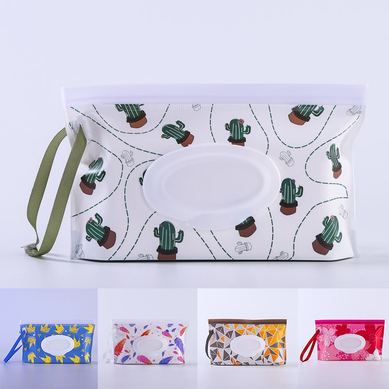 Cleaning Wipes Case Reusable for Household Portable 1Pc Eco-friendly Wet Wipe Bag Wipes Container Cartoon Pattern EVA