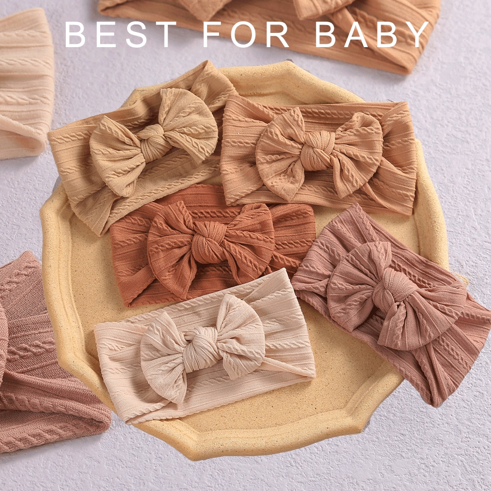 32 Colors Cable Bow Baby Headband for Child Bowknot Headwear Cables Turban for Kids Elastic Headwrap