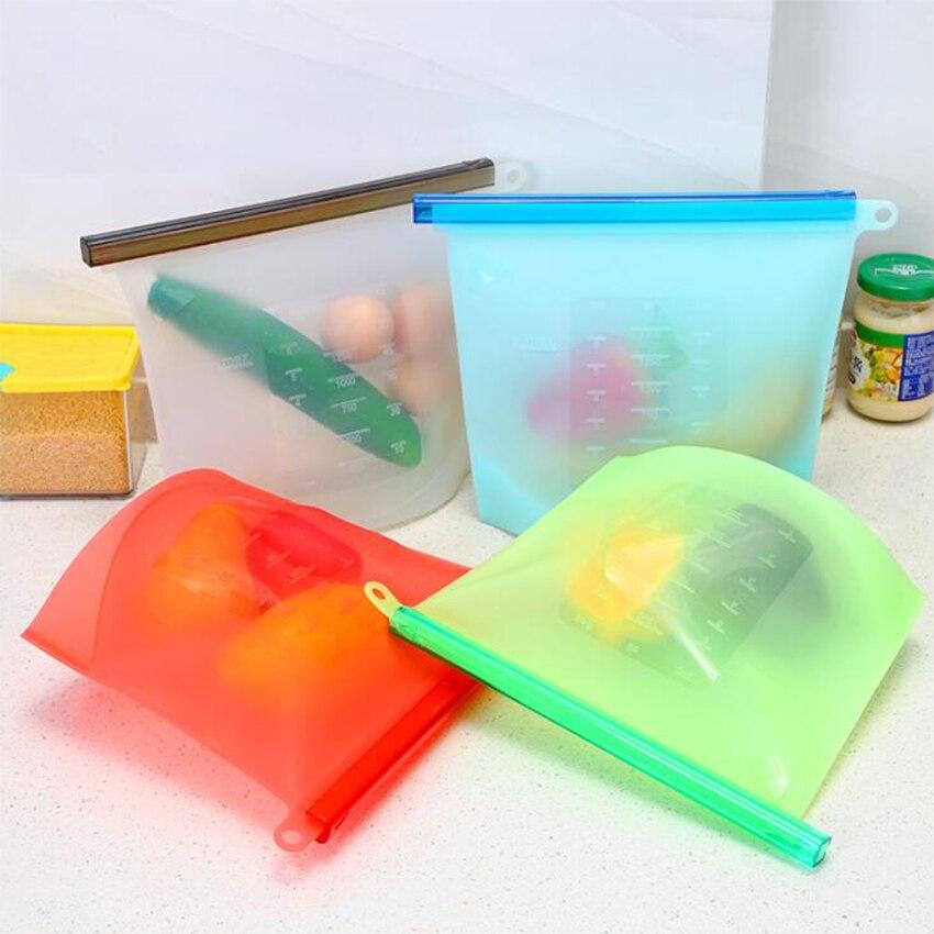 Bolsa Ziplock reutilizable de 1500 ML, contenedor de silicona a prueba de fugas para congelador, bolsa de mantenimiento fresco para alimentos, almacenamiento de frutas y vegetales en la cocina