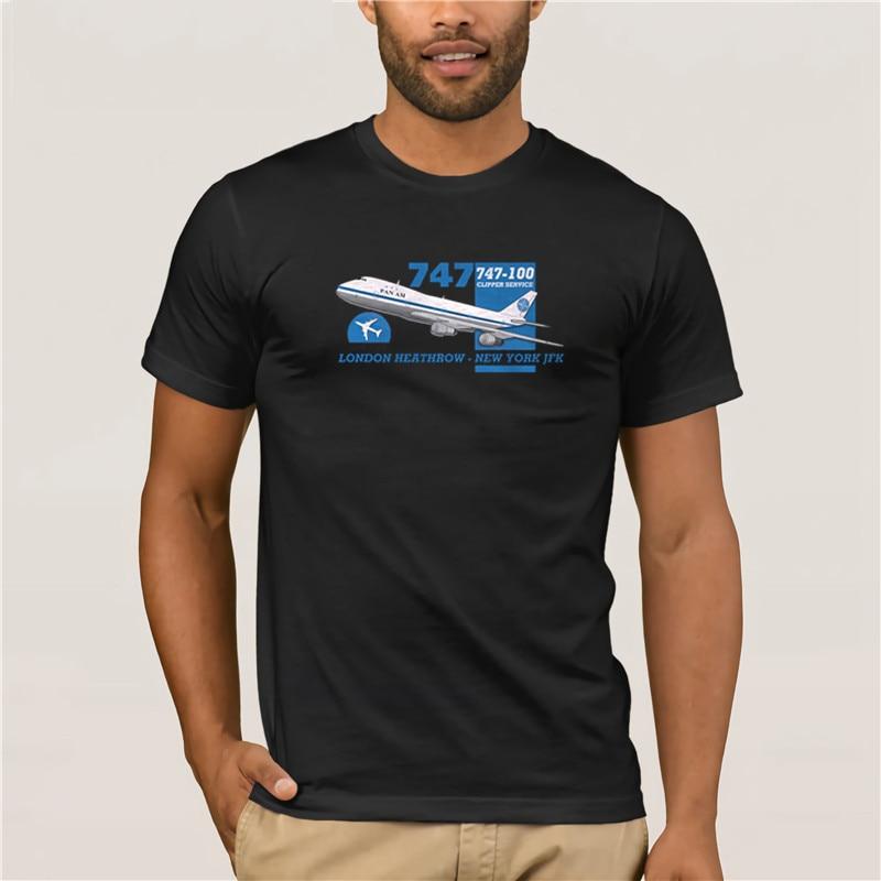 Hot men's fun casual print T-shirt 100 % Cotton For Men Design Tops Retro Flight Pan Am Boeing 747 Heathrow New T-Shirts