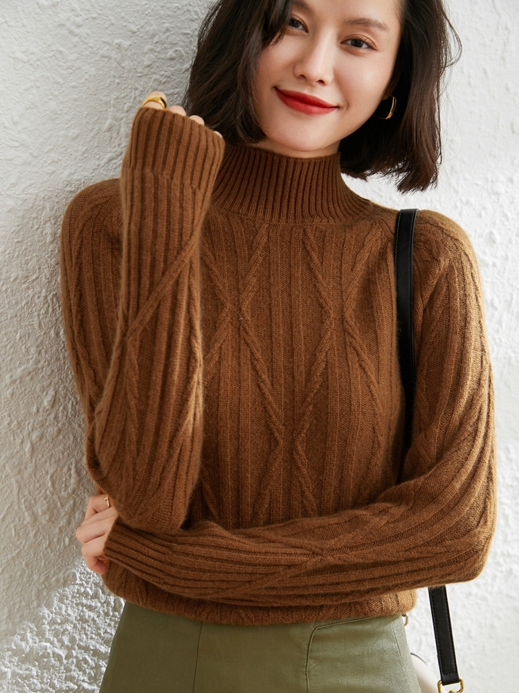 100% Goat Cashmere Knitted Thicker Sweaters Winter 2021 Long Sleeve Soft Warm Jumpers Ladies Cold Proof Pullovers enlarge