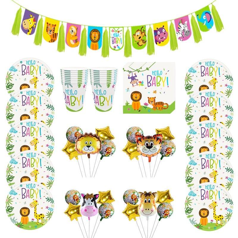 С героями мультфильмов, с изображением животных из джунглей одноразовая посуда бумажные тарелки и стаканы День рождения украшения детский ...