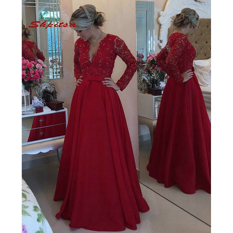 Сексуальные Красные кружевные вечерние платья с длинным рукавом, вечерние атласные трапециевидные элегантные вечерние платья с жемчугом д...